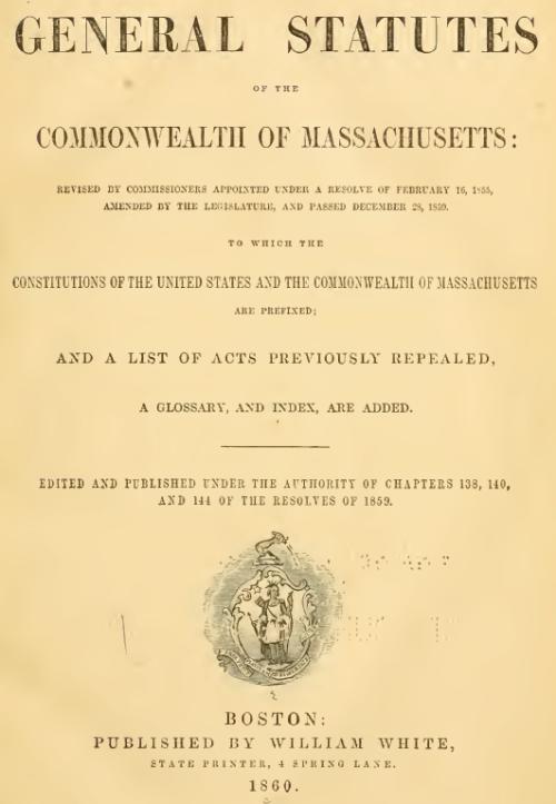 General Statutes of the Commonwealth of Massachusetts 1960